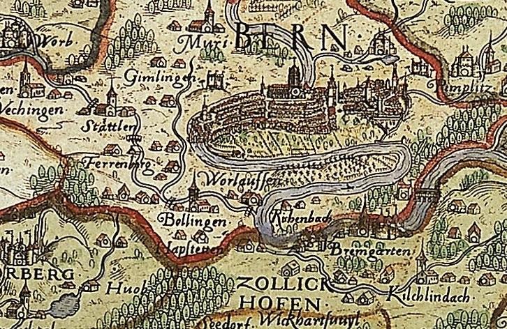 Karte des bernischen Staatsgebiets von Thomas Schoepf 1578