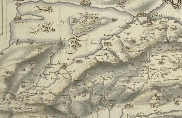 Karte des Bodensees und Teile des Thurgaus von Hans Conrad Gyger